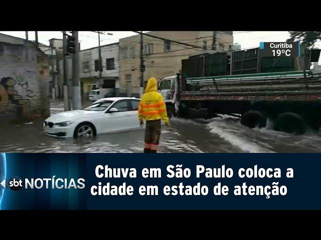 Chuva em São Paulo coloca a cidade em estado de atenção   SBT Notícias (08/03/2019)