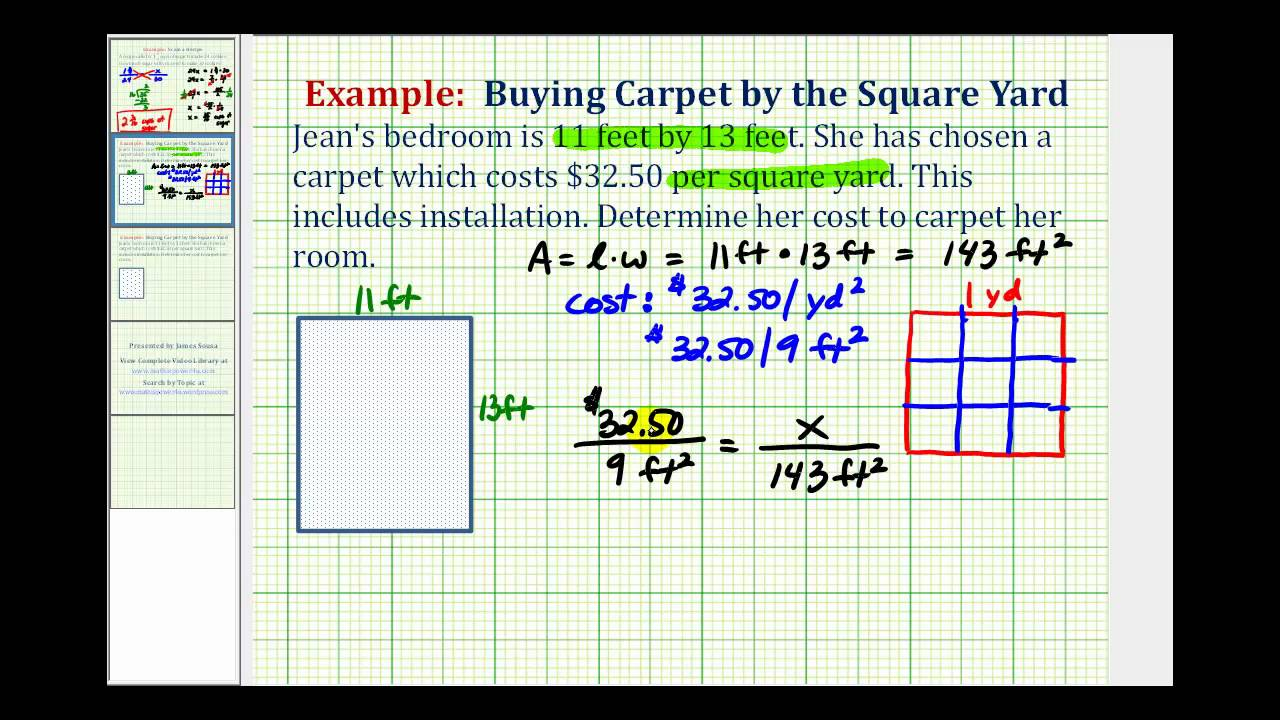 Ex Unit Conversion Proportion Application Cost Of Carpet