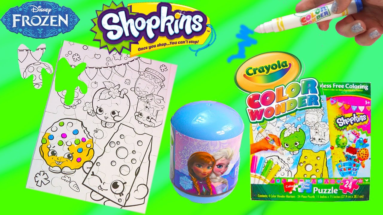 Disney Frozen Surprise Blind Bag + Shopkins Crayola Color Wonder ...