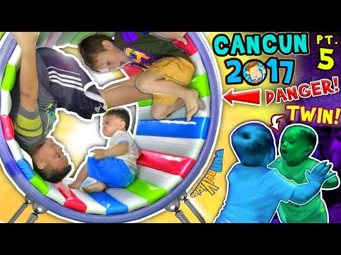 Thumbnail: WHEELS ON THE BUS, OUCH! 🌎 WORLD'S COOLEST INDOOR PLAYGROUND (FUNnel Vision Cancun Mexico Pt 5 vlog)