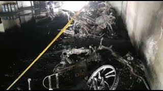 Cars and motorcycles gutted in possible act of arson