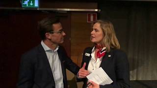 Ulf Kristersson i samtal med Småföretagarnas Riksförbunds Anneli Egestam om synen på företagare