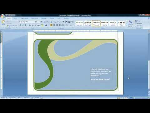 How to Make a Card Using Microsoft Word 2007 - YouTube