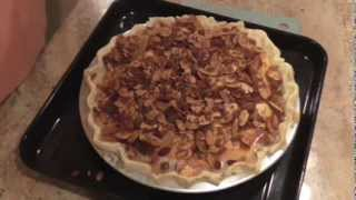 Peaches & Cream Pie With  Almond Toffee Topping