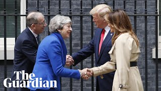 Trump doesn't shake hands with May as he arrives at 10 Downing