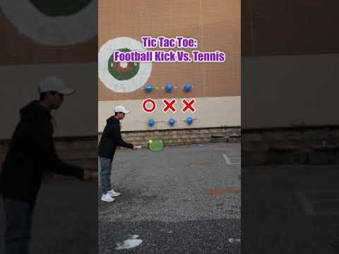 Tennis Vs. Football TIC TAC TOE CHALLENGE! #Shorts