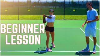Beginner Tennis Lesson | Forehand, Backhand & Serve screenshot 3