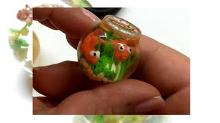 Miniature aquarium with resin, polymer clay and a latex mold