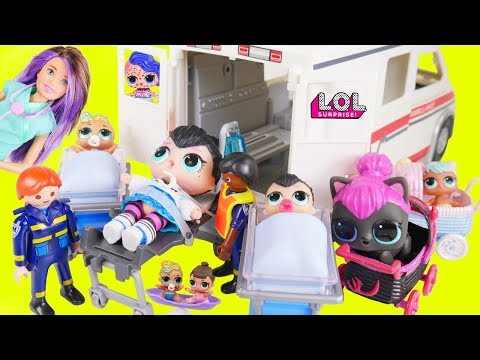 Spice Baby Custom Visit Hospital in Ambulance with Big LOL Surprise Dolls + Lil Sisters Wave 2 Video