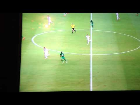 Ivory Coast soccer player trips over during World Cup