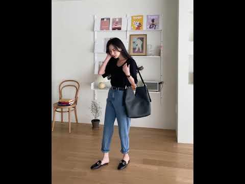 [라뷰] 르아 레이온 브이넥 반팔티 + 프리비 핀탁 배기 데님 팬츠