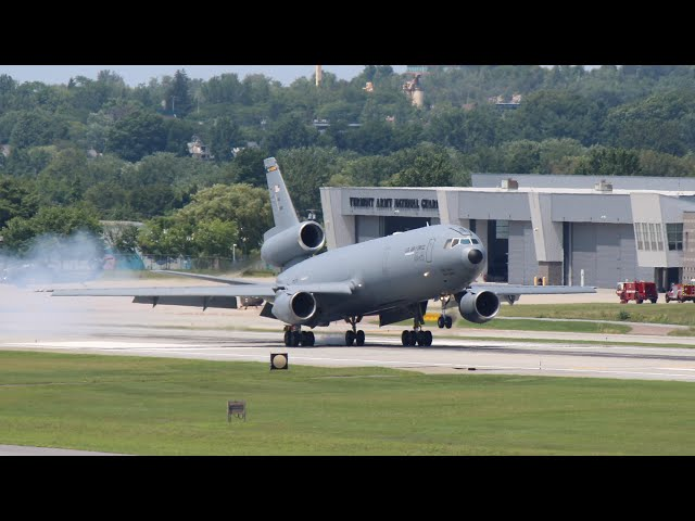 Military Spotting at Burlington Int'l Airport! KC10, KC135 and C17