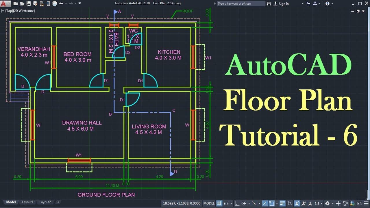 Autocad Floor Plan Tutorial For Beginners 6 Youtube