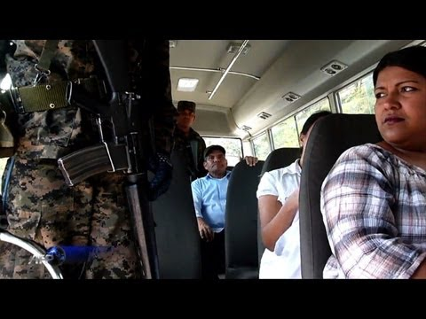 Military in Honduras provide security on buses