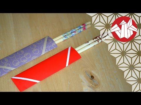 Tuto Origami - Etui à baguettes (Porta Hashi) [Senbazuru]