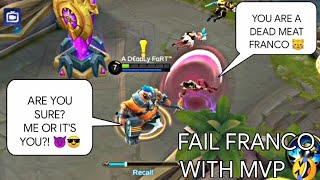 FAIL FRANCO GETS MVP! MYTHIC RANK GAMEPLAY | WOLF XOTIC | MOBILE LEGENDS