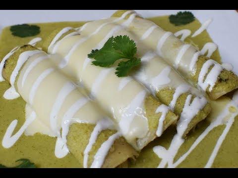 Green Enchiladas with Cream Cheese and Avocado Sauce