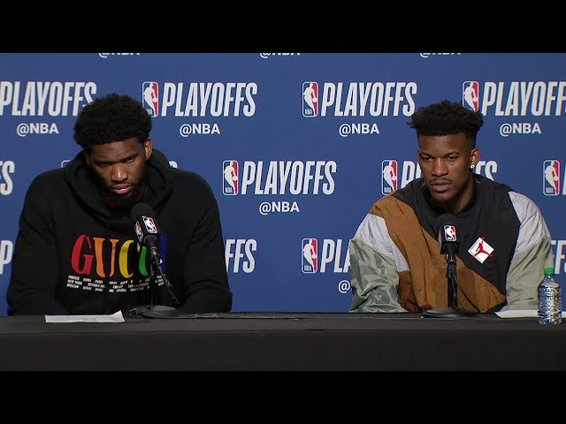 Joel Embiid & Jimmy Butler Postgame Interview - Game 7   76ers vs Raptors   2019 NBA Playoffs