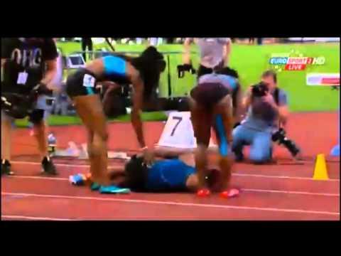 2014 Spitzen Leichtathletik women 200m- Michelle Lee Ahye wins in 22.77 then collapses