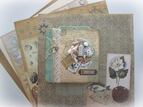 Maritime mini album - 7Gypsies #LoveWinterArt - TUTORIAL