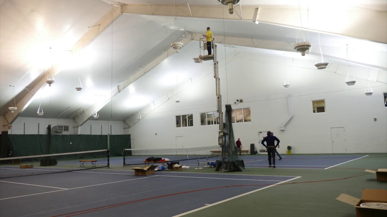 Time Lapse LED Lighting Installation on Indoor Tennis Courts - YouTube
