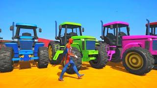 GTA 5 Gameplay Ragdolls RED SPIDERMAN VS Tractors (Euphoria Physics & Funny Fails)