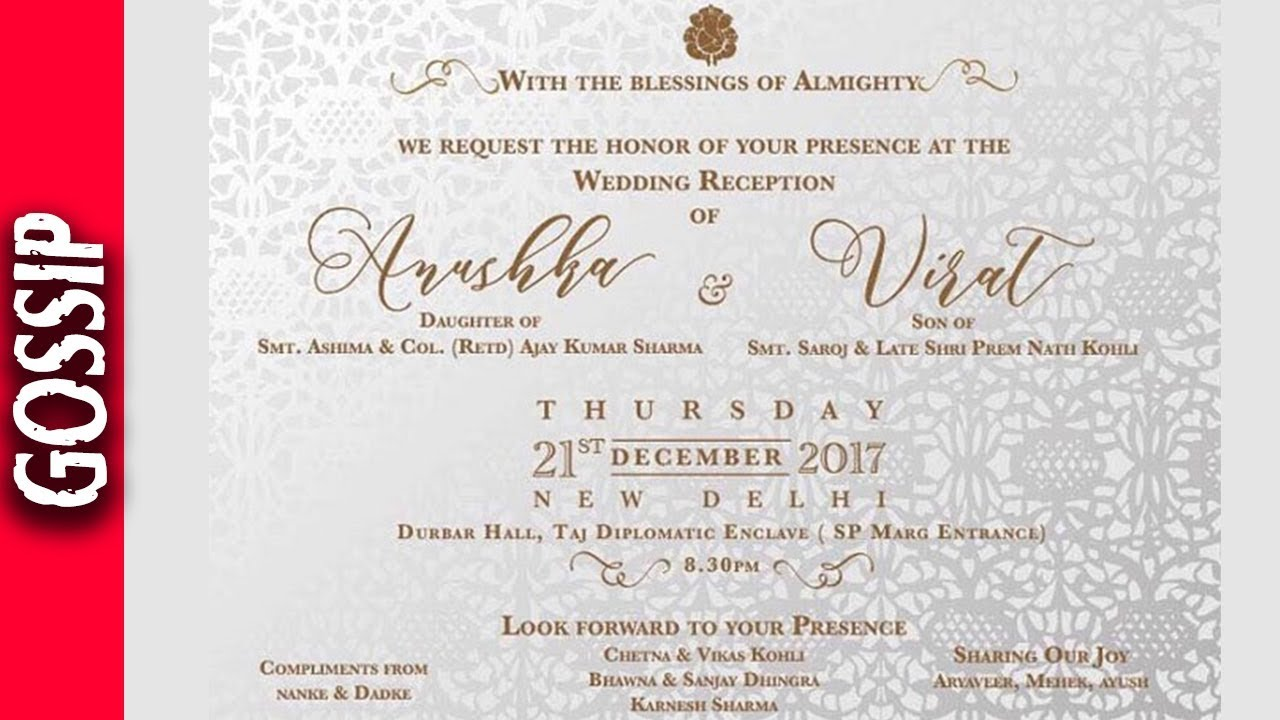 invitation card of virat and anushka reception in delhi virushka