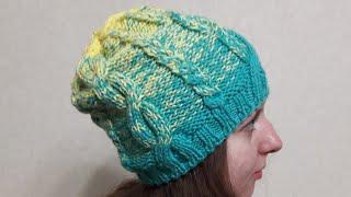 Женская шапка Бини Спицами с Градиентом