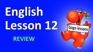 English Lesson 12 - REVIEW. Alphabet, action verbs, animals, food.