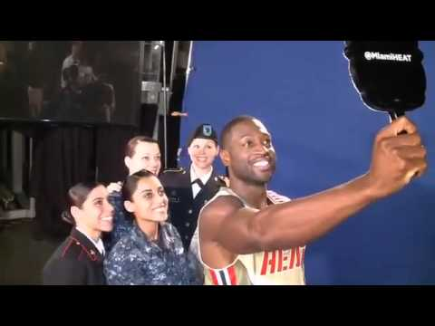 Dwyane Wade shows the service members army how to user twitter mirror Miami HEAT