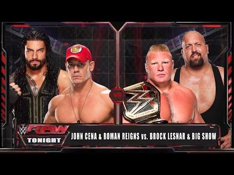 WWE RAW 14 - John Cena & Roman Reigns vs Brock Lesnar & Big Show - WWE RAW Full Match HD!