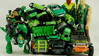 Green Car Truck Assembly Hulk, Tayo Bus, Paw Patrol Chase Transformers Robot Toy Car Videos for kids