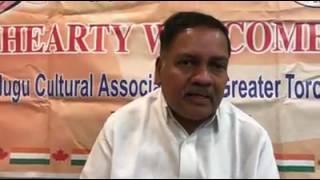 Hon Dy Speaker of AP Greetings to Toronto Telugu Community