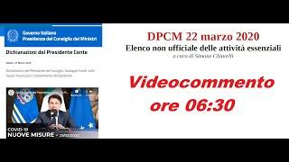 DPCM 22 marzo 2020 - dichiarazioni Presidente e elenco non ufficiale delle attività (22/03/2020)