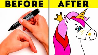 20 AMAZING DRAWING TRICKS WITH PALMS ||Cute Drawing Hacks for Beginners