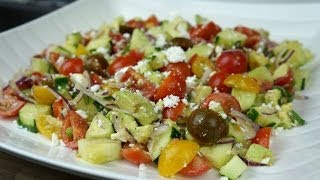 Tasty Tomato And Cucumber Salad With Feta.