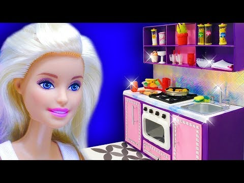Barbie Doll Kitchen Set. DIY Miniature Crafts for Barbie Dollhouse