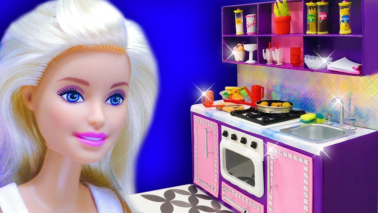 Barbie Doll Kitchen Set Diy Miniature Crafts For Barbie Dollhouse Youtube