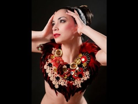 Female sword swallower Jewels Good at Cirque du Cabaret. The
