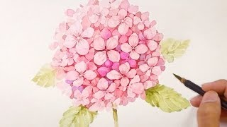 Paint a realistic hydrangea without sketch