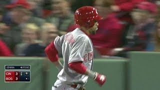 CIN@BOS: Hamilton drops down a bunt as pinch-hitter