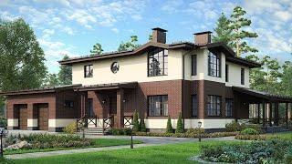 Проект дома в современном стиле. Дом с гаражом, террасой и панорамными окнами. Ремстройсервис М-155