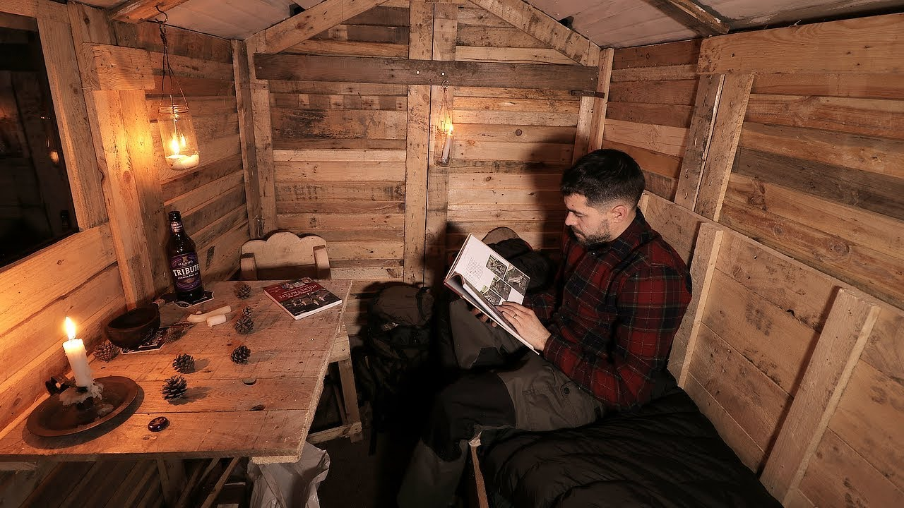 Log Cabin Life First Night In The Off Grid Pallet Wood
