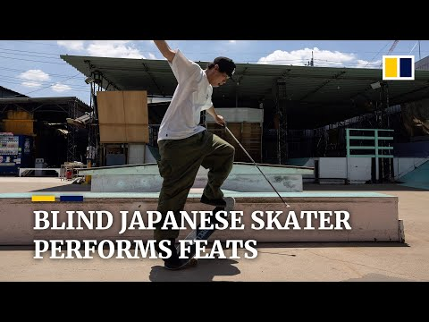 Blind Japanese skateboarder performs feats despite disability