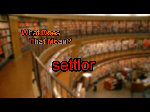 What does settlor mean?