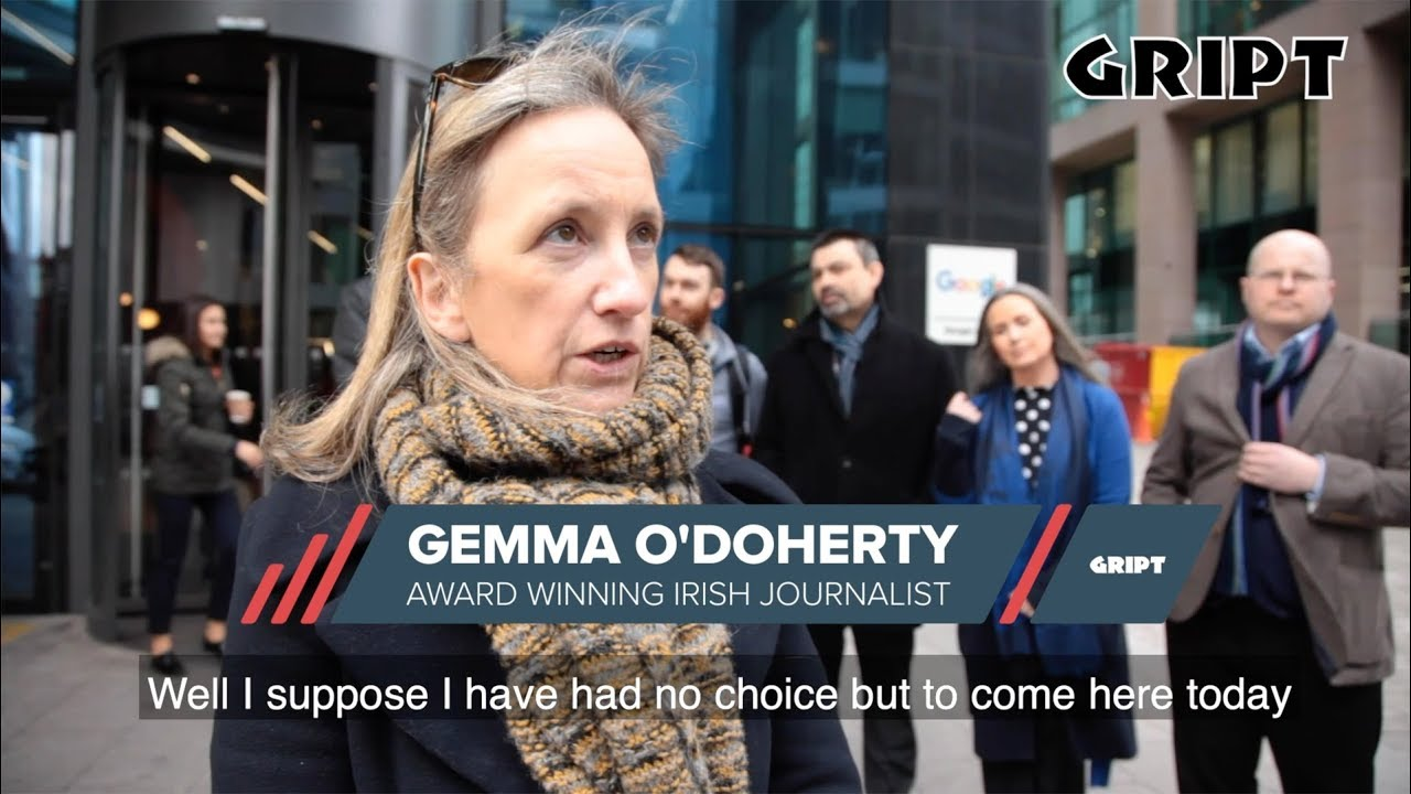 Irish award-winning journalist Gemma O'Doherty protested inside Google HQ