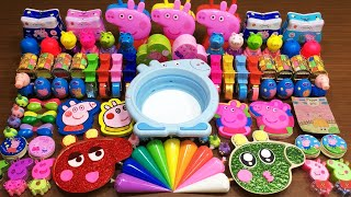 PEPPA PIG Slime !RELAXING WITH CLAY PIPING BAG & RAINBOW! Mixing Random Things into Glossy Slime#815