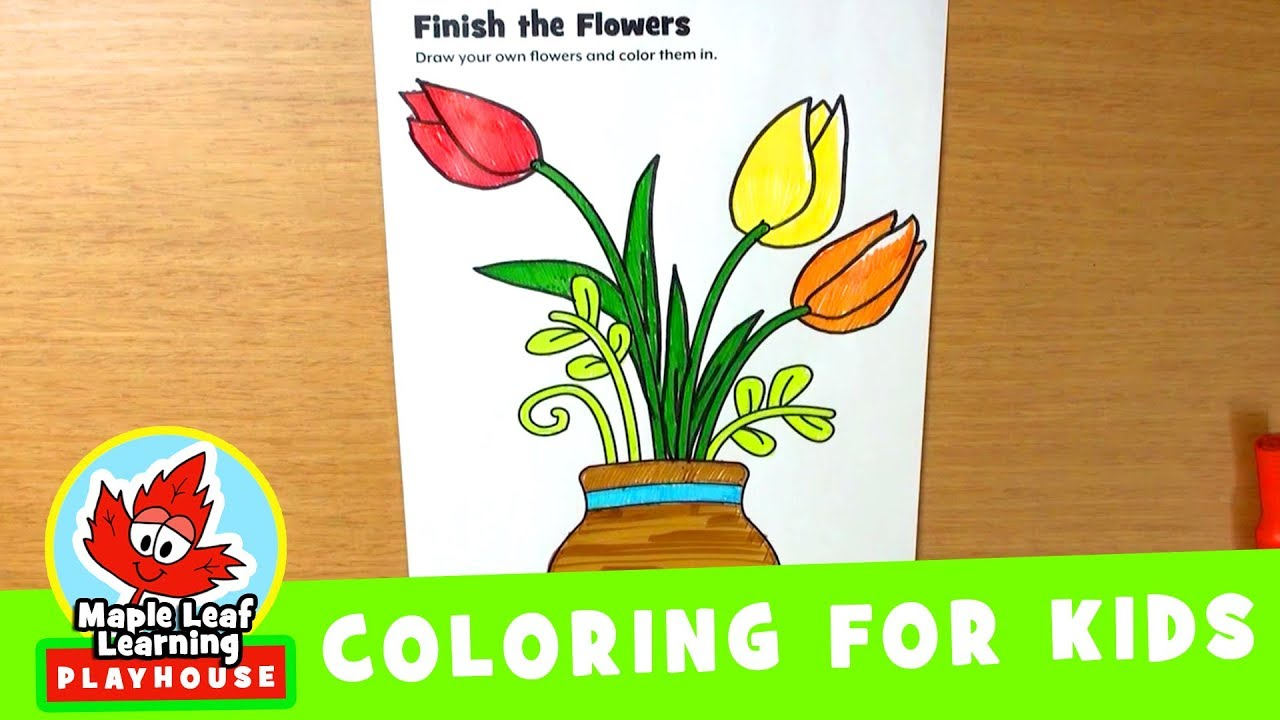 Flowers Coloring Page for Kids | Maple Leaf Learning Playhouse - YouTube