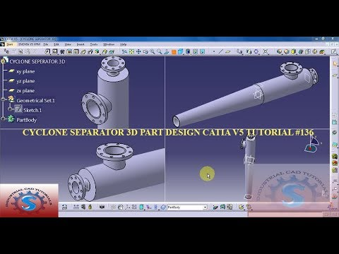 Cyclone Separator Catia V5 3d Practice Drawing Basic Tutorials For Beginners 136 Youtube
