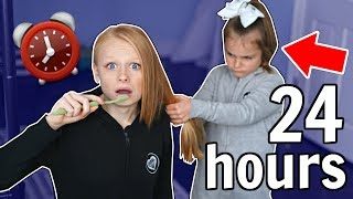 I Spent 24 HOURS In My Little SISTERS Room!!! *so difficult*